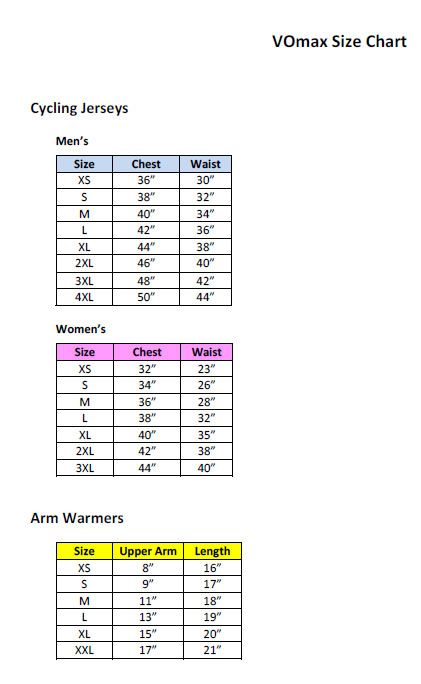 Http Site Cyclegarb Com Vomax Size Chart Jpg Cycling Jersey Men Size Chart Jersey