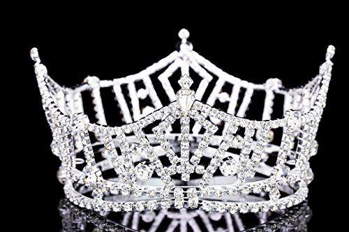 "Mid Size 3"" Tall Pageant Tiara Crown - Silver Plated Rhinestone Crystal T1016 Venus Jewelry http://www.amazon.com/dp/B00IY2LO5G/ref=cm_sw_r_pi_dp_WXhOvb0ZEA4TD"