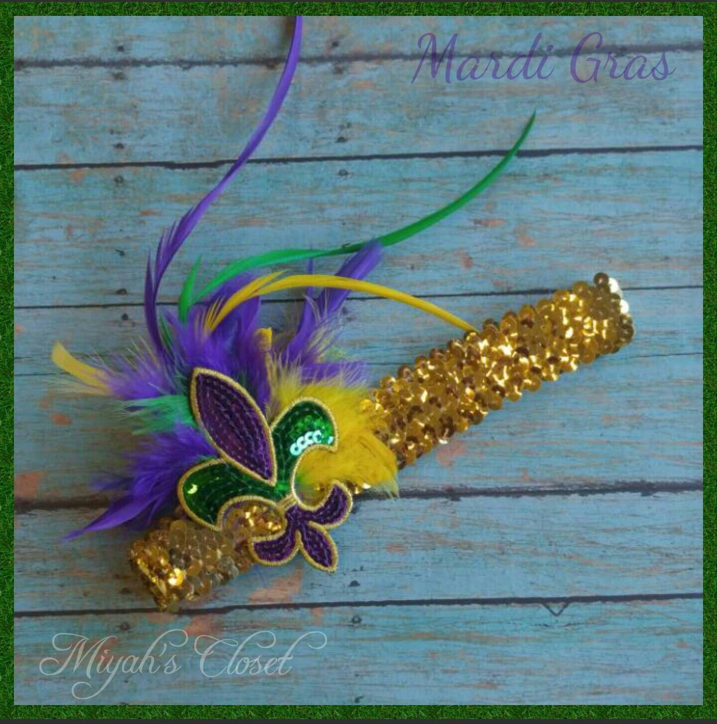 Mardi Gras Fleur de Lis Sequin Headband Gaspy Headband Mardi Gras ...