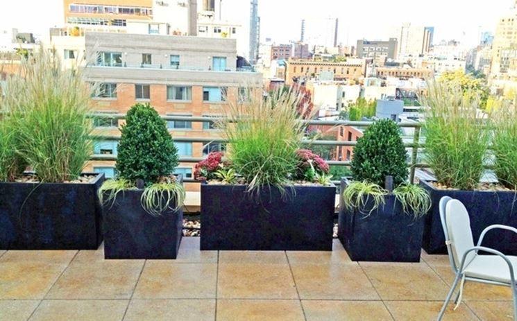 Grandi vasi sul terrazzo | terrazza | Pinterest