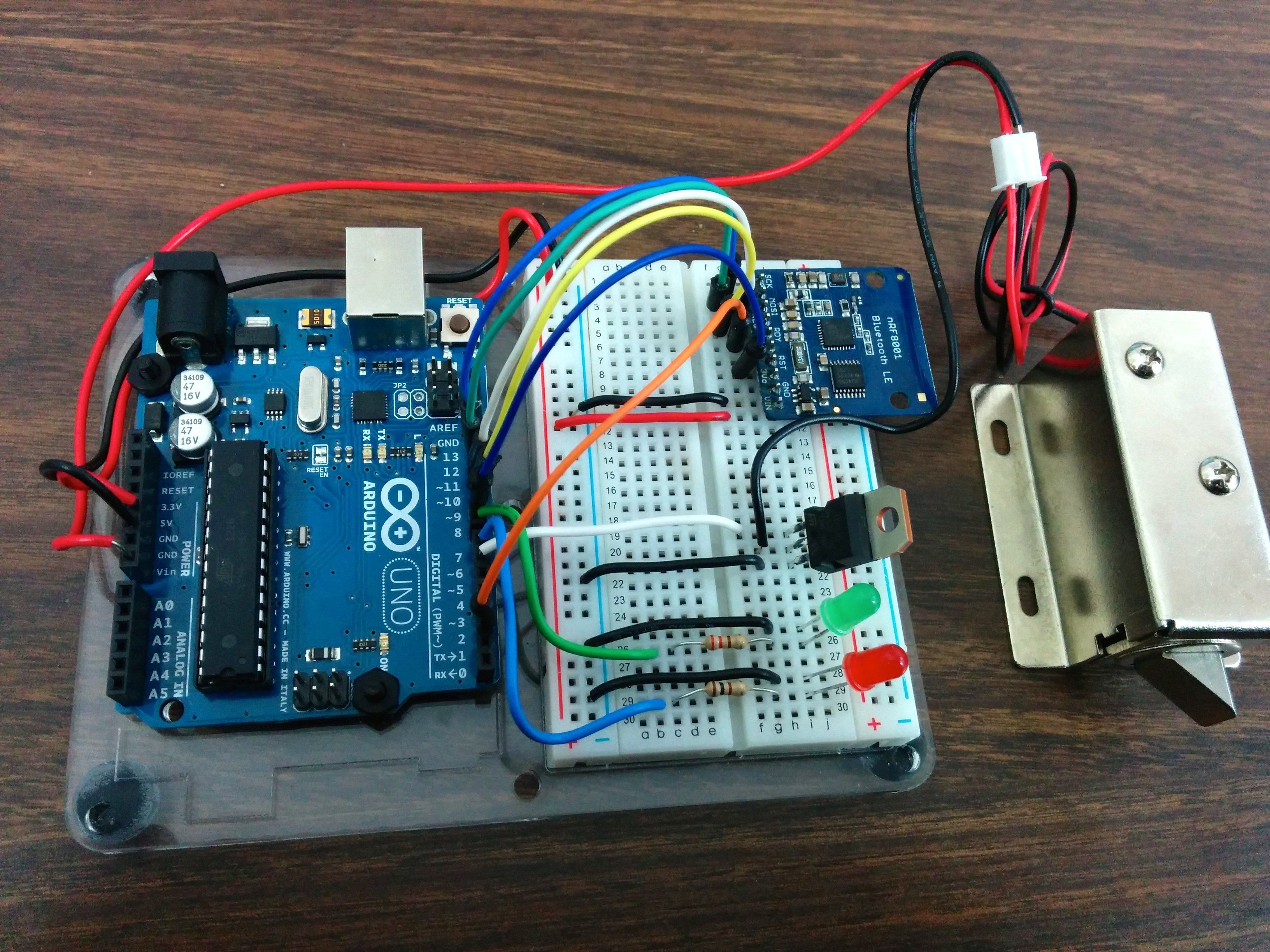 Controlling A Lock With An Arduino And Bluetooth Le In 2018 Project 42 Breadboarded Circuit