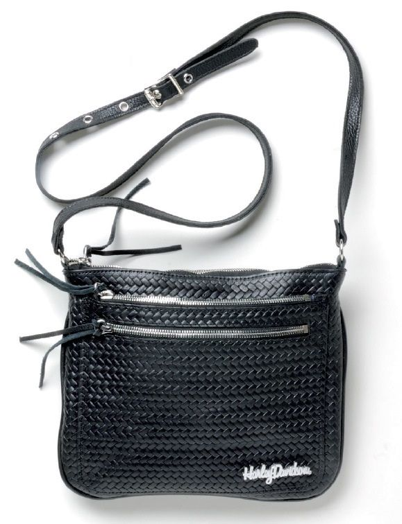 harley-davidson® basket weave double zip crossbody bhc2 | women's