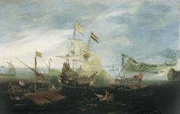 Anonyme hollandais, Combat naval, 1601-1625, Inv. RO 905. Non exposée. © Toulouse, musée des Augustins – Photo Daniel Martin
