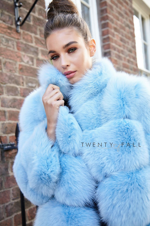 Lola Baby Blue Fox Fur Coat With Collar Fur Coat Fox Fur Coat Fox Fur