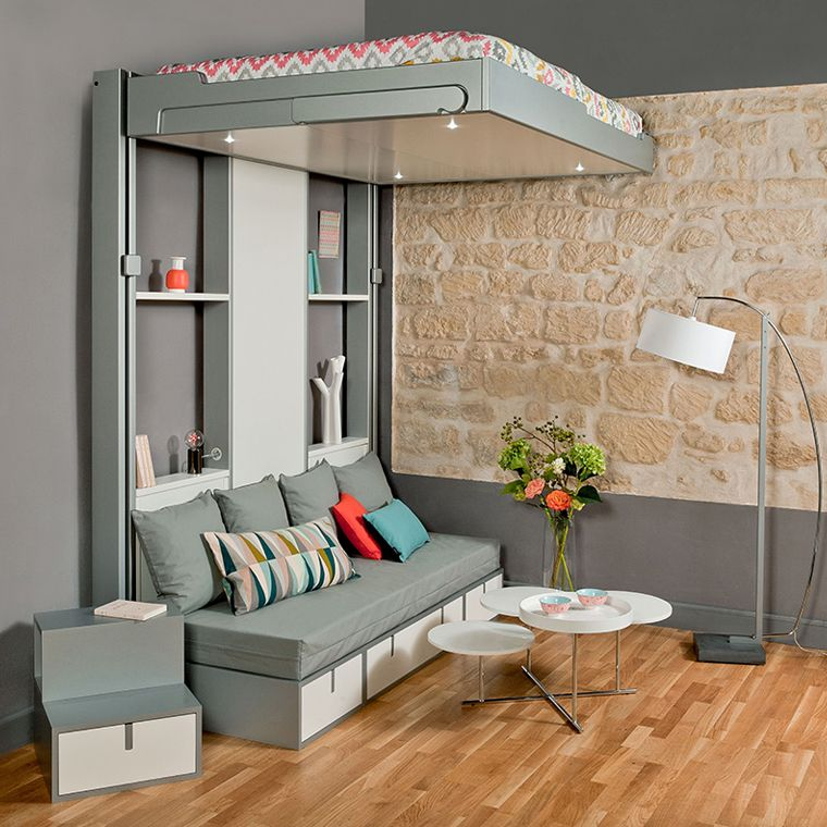 The bed moves down the tracks and rests on the couch and for 14m2 zimmer einrichten