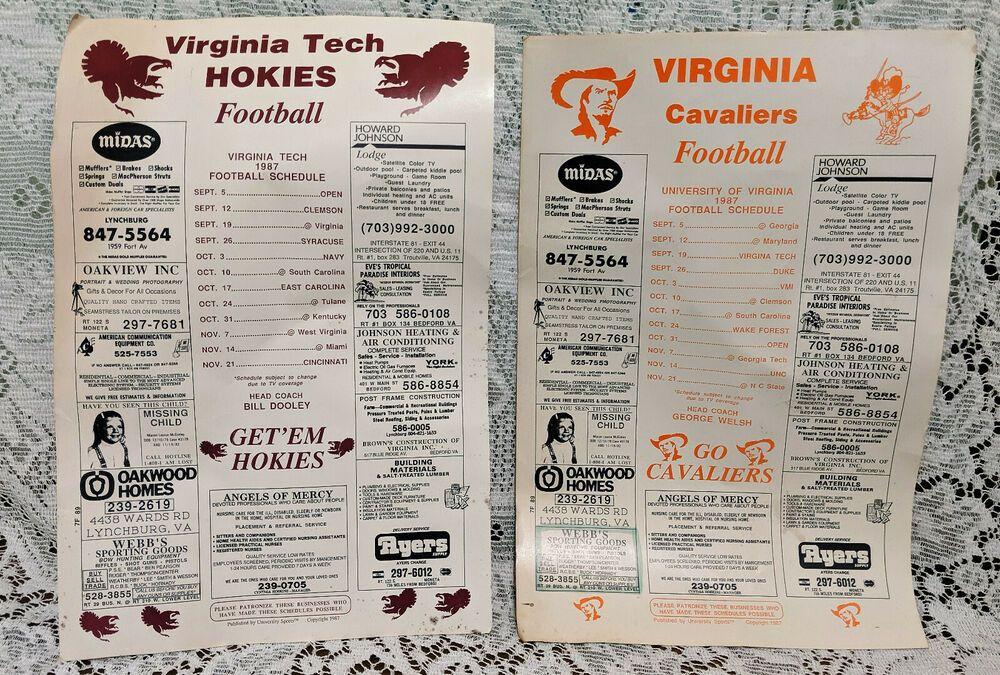 21987U V CAVALIERS & VIRGINIA TECH HOKIES FOOTBALL