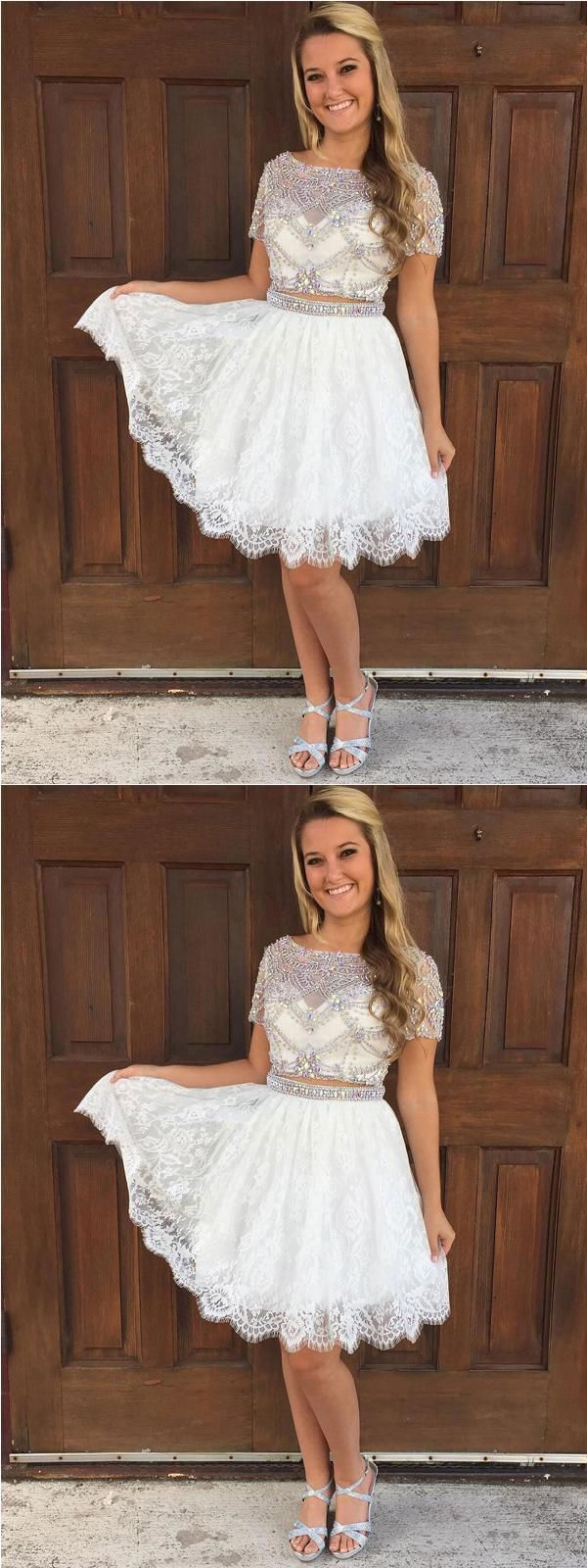 Cap sleeves rhinestone two pieces short homecoming dresses
