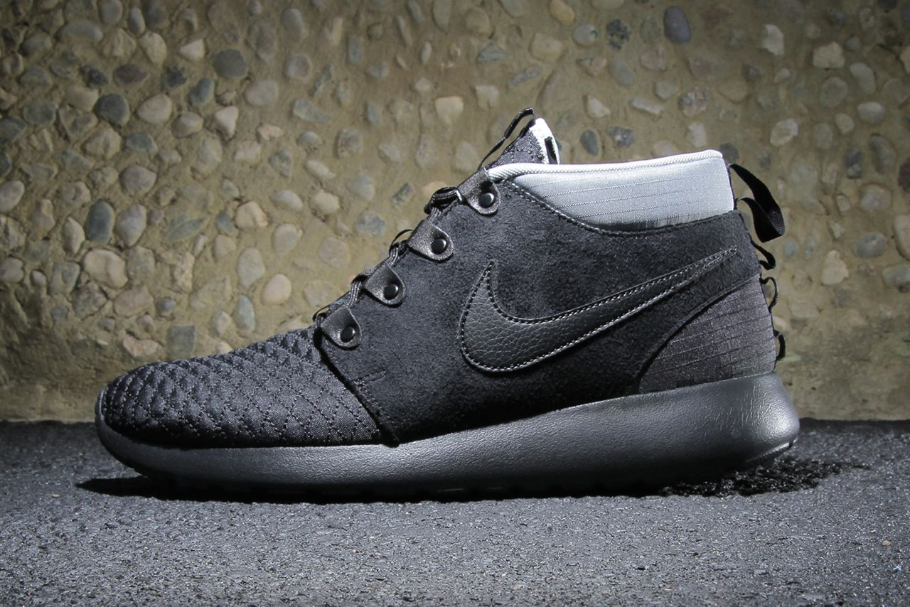 5add730a8b90 Nike Roshe Run SneakerBoot Black Black-Silver