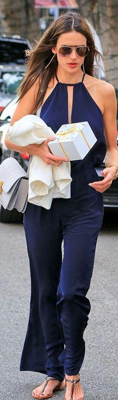 Alessandra Ambrosio, blue cut out jumpsuit
