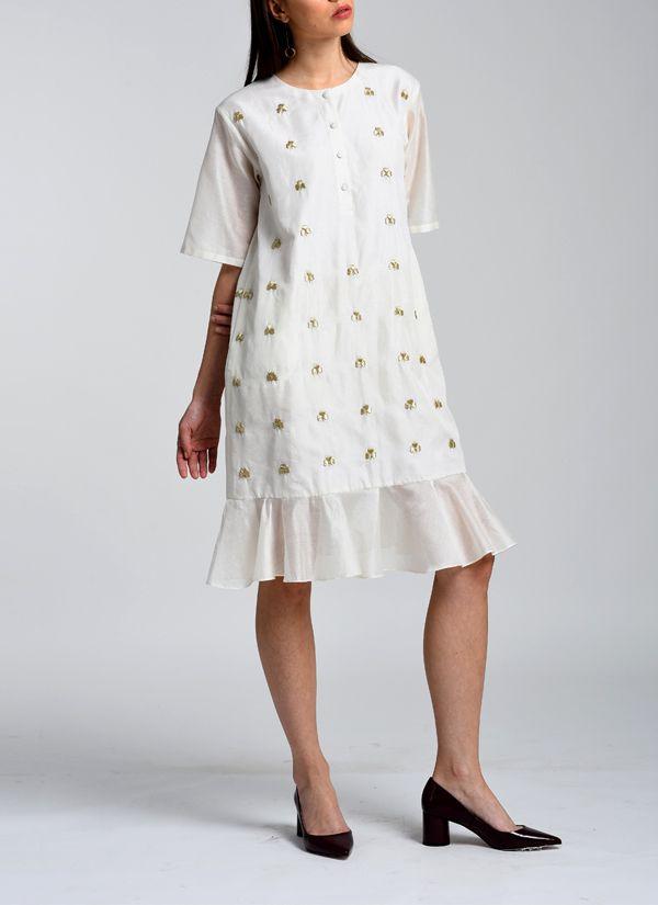149d7ab5efe1fa Kanelle | Zari Hand Embroidered Dress | Shop Dresses at strandofsilk.com