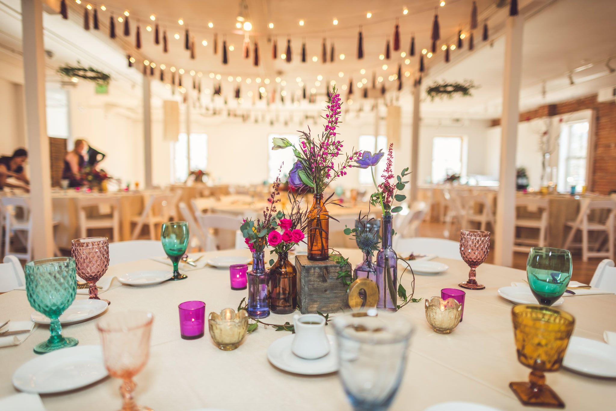 Magenta Purple Teal And Navy Wedding Reception Industrial