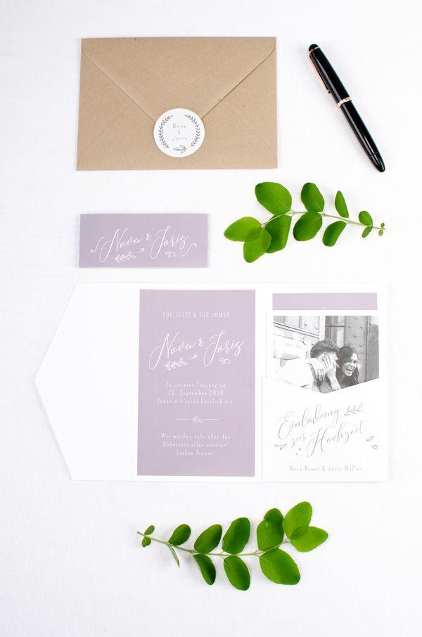 Hochzeitskarten Schlicht Mit Kalligrafie Und Mit Foto Kreative