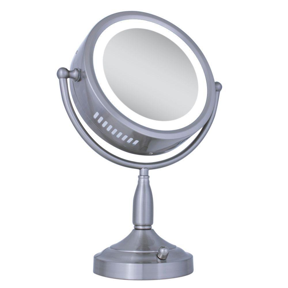 Zadro Lighted 8x 1x Round Vanity Makeup Mirror In Satin Nickel