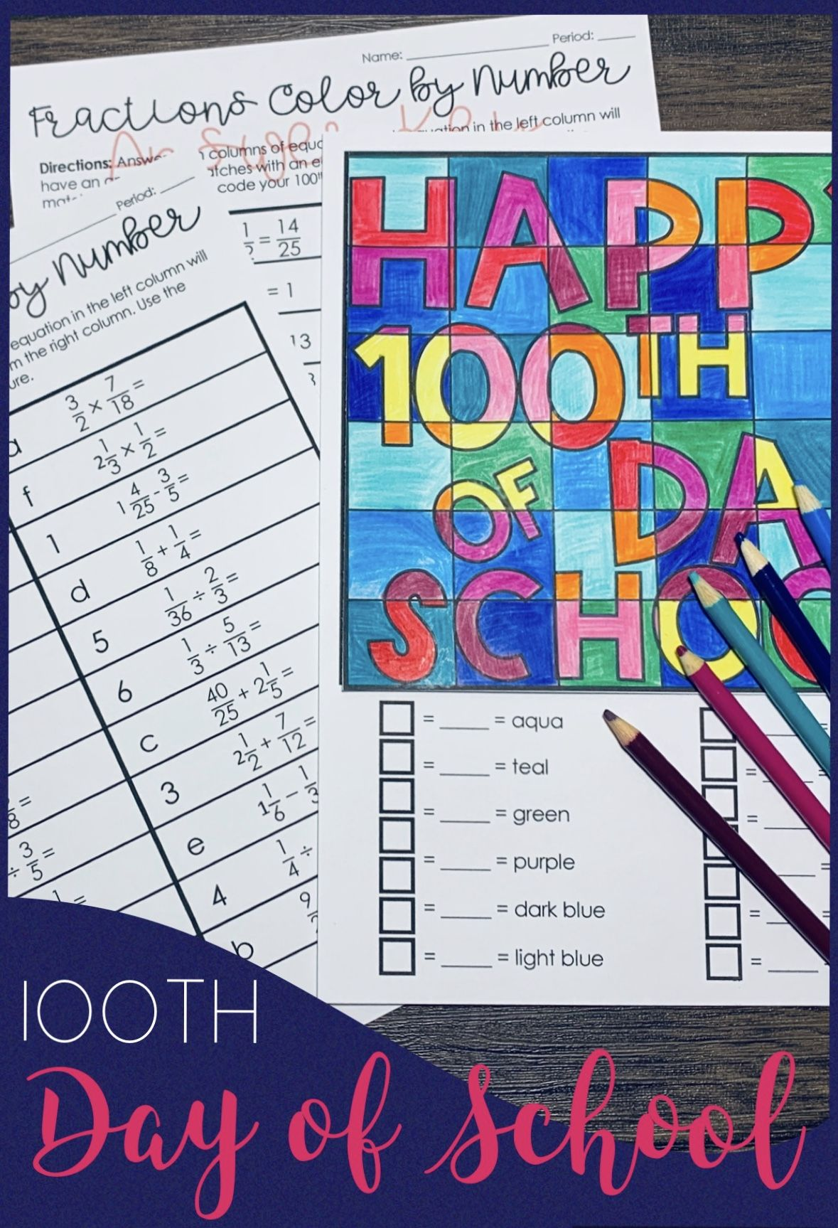 100th Day Of School Fractions Activity