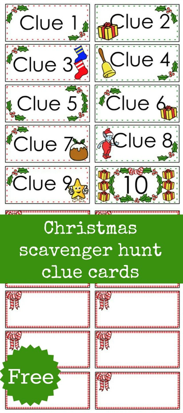 Christmas scavenger hunt free printable clue cards for kids | Aaa ...