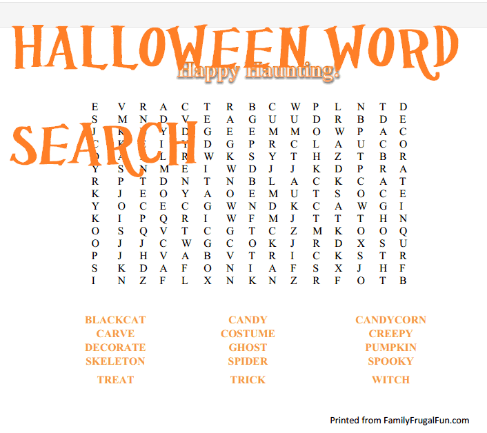 Halloween Worksheets Educational Halloween Wordsearch Worksheets