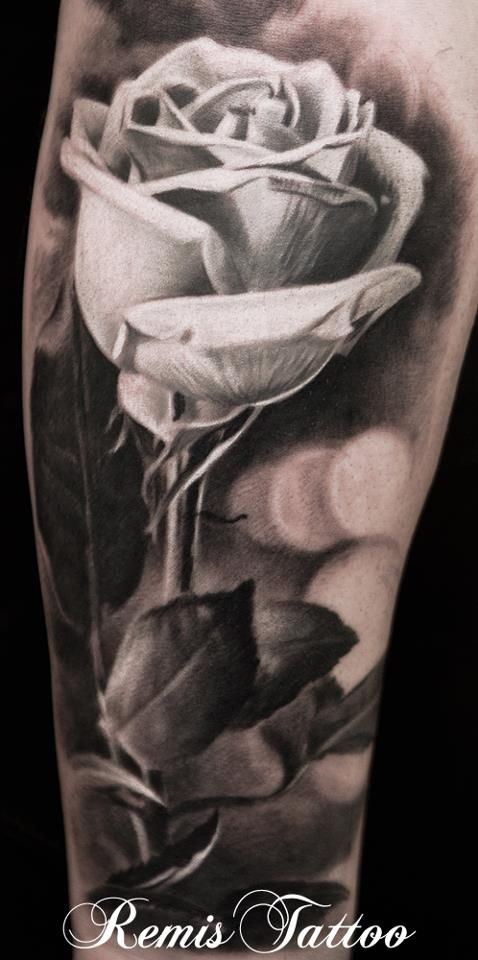 realistic black and grey rose tattoo by remistattoo on. Black Bedroom Furniture Sets. Home Design Ideas