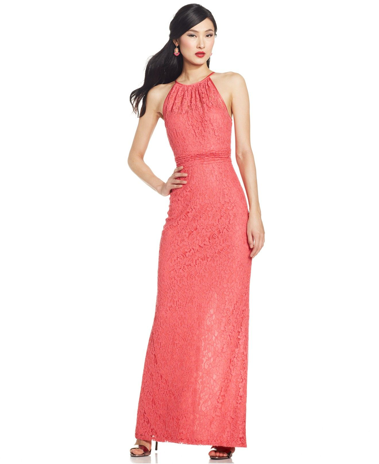 Adrianna papell illusion lace halter gown bridesmaids women adrianna papell illusion lace halter gown bridesmaids women macys goes to size ombrellifo Images