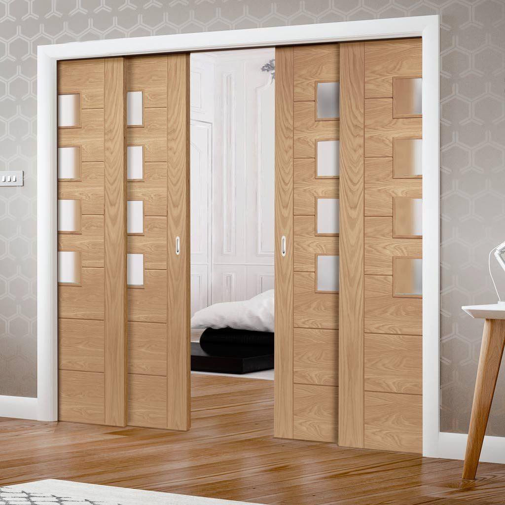 Palermo Oak Veneer Staffetta Quad Telescopic Pocket Doors