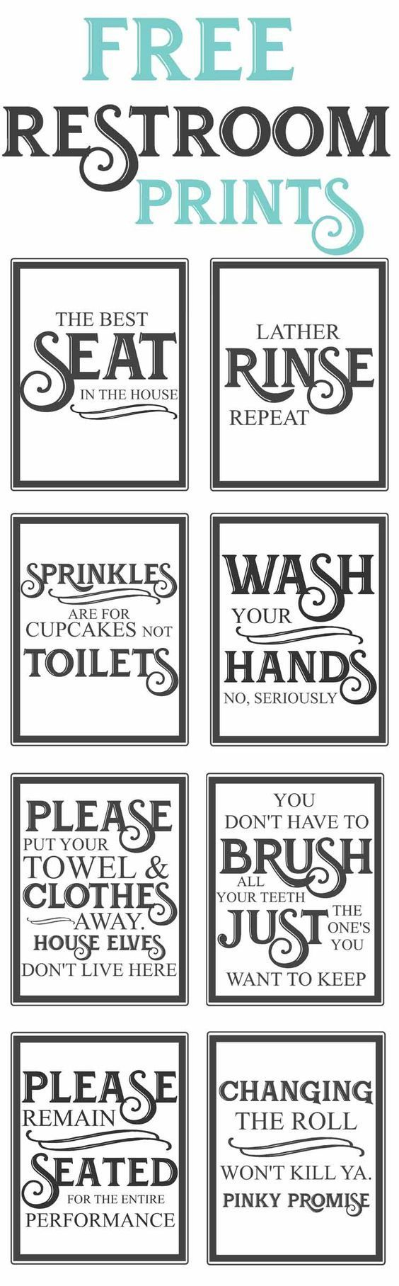 Free Vintage inspired bathroom printables-funny quotes to hang up in the restroom-farmhouse