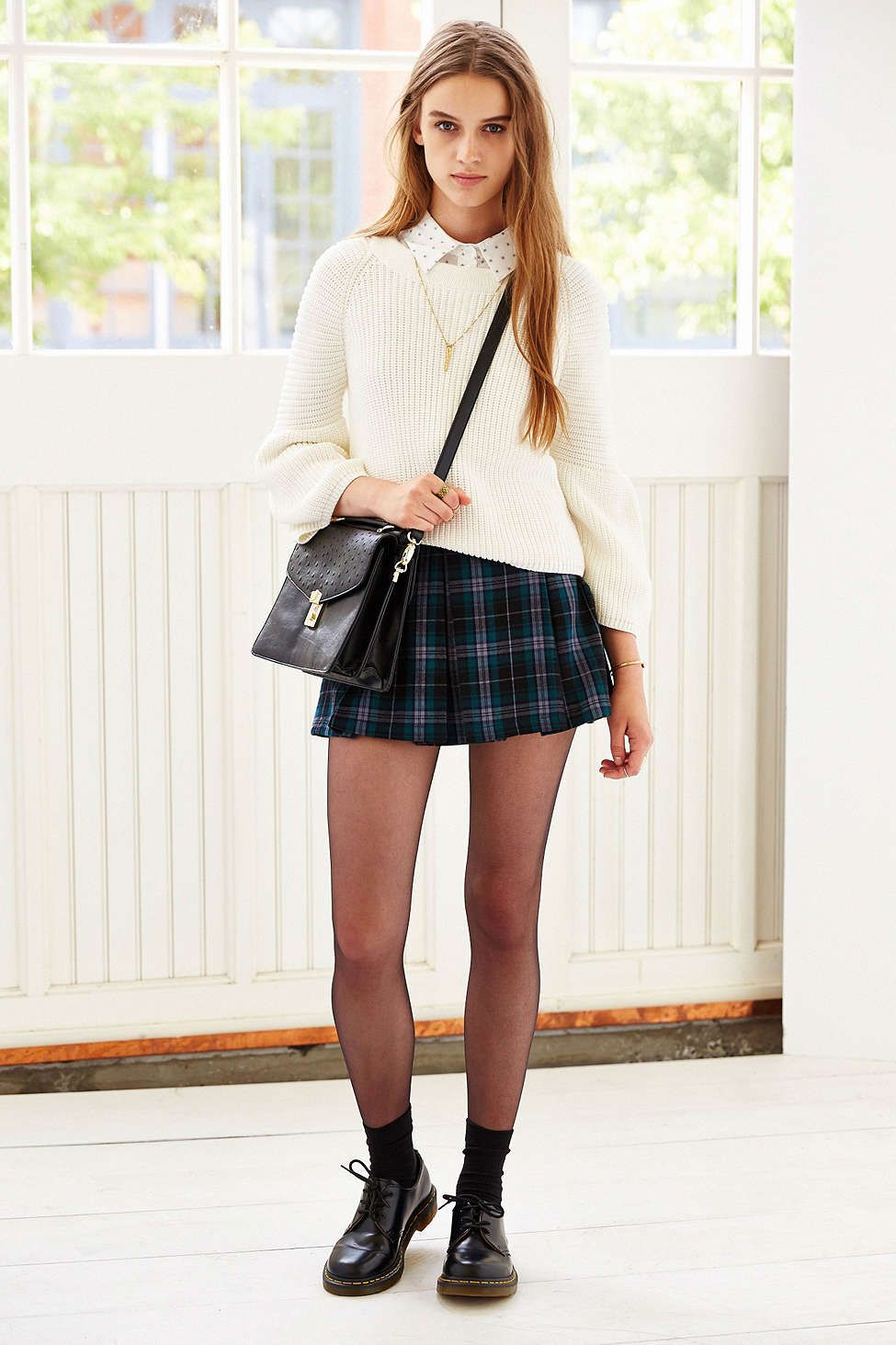 Ecote Plaid Inverted Pleat Mini Skirt | Urban outfitters Mini skirts and Cream