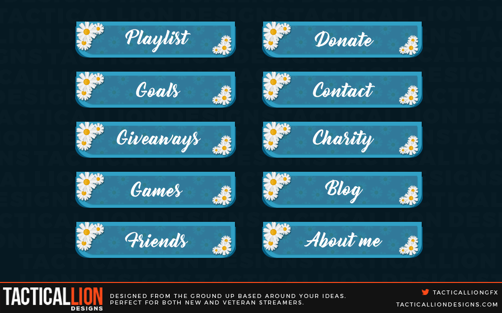 Twitch Panels beautifully created for twitch streamers in