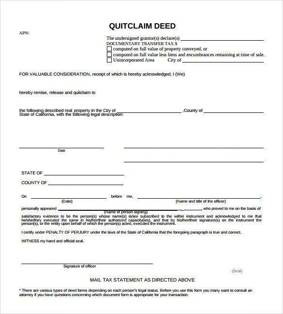 Sample Quitclaim Deed Form u2013 10 Free Documents in PDF, Word - quit claim deed pdf