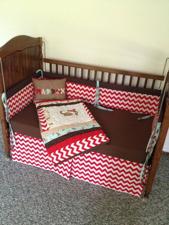 Chevron Sock Monkey Crib Set With Six Piece Bumper Pleated Bedskirt