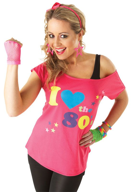 MEN/'s 80/'s COSTUME MALE I LOVE THE 80/'s T SHIRT TROUSERS FANCY DRESS MAN