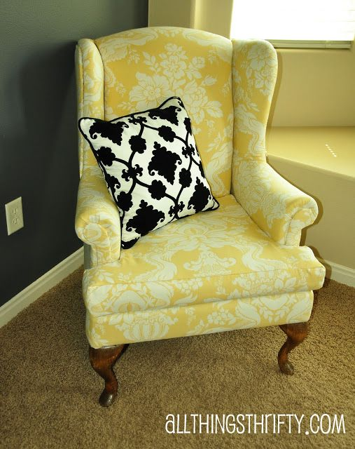 chair makeover - took about 7 yds of fabric (from her tutorial). She also has some tips for recovering furniture elsewhere on her blog.