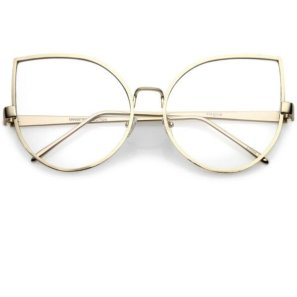 831f88f6557 Oversize Metal Cat Eye Glasses With Slim Arms Clear Round Flat Lens...  ( 14) ❤ liked on Polyvore featuring accessories