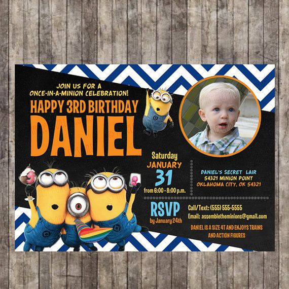 Custom Personalized Despicable Me Minion Blue Chevron Birthday Invitation With Childs Picture