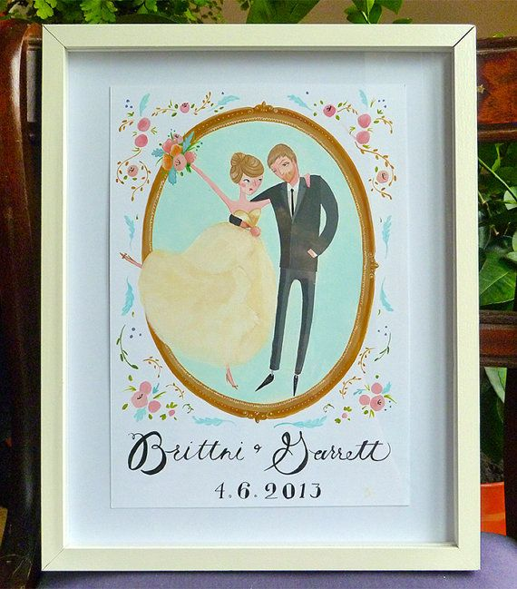 Spring Floral Wedding  Custom Portrait by JollyEdition on Etsy, £130.00