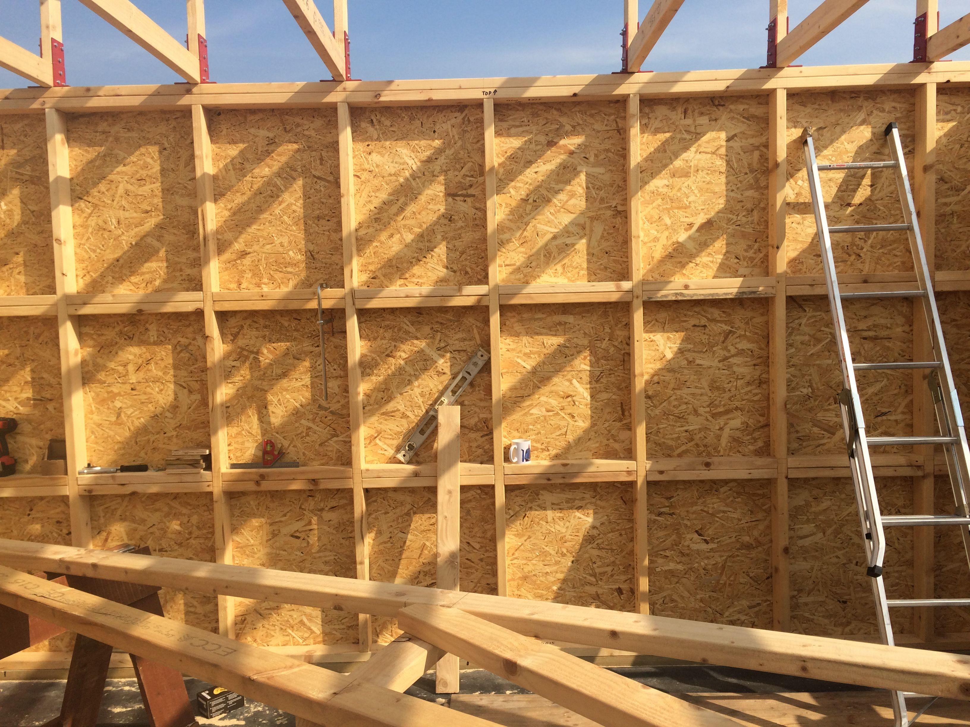Timber frame shed workshop. Internal stud wall with noggins ...