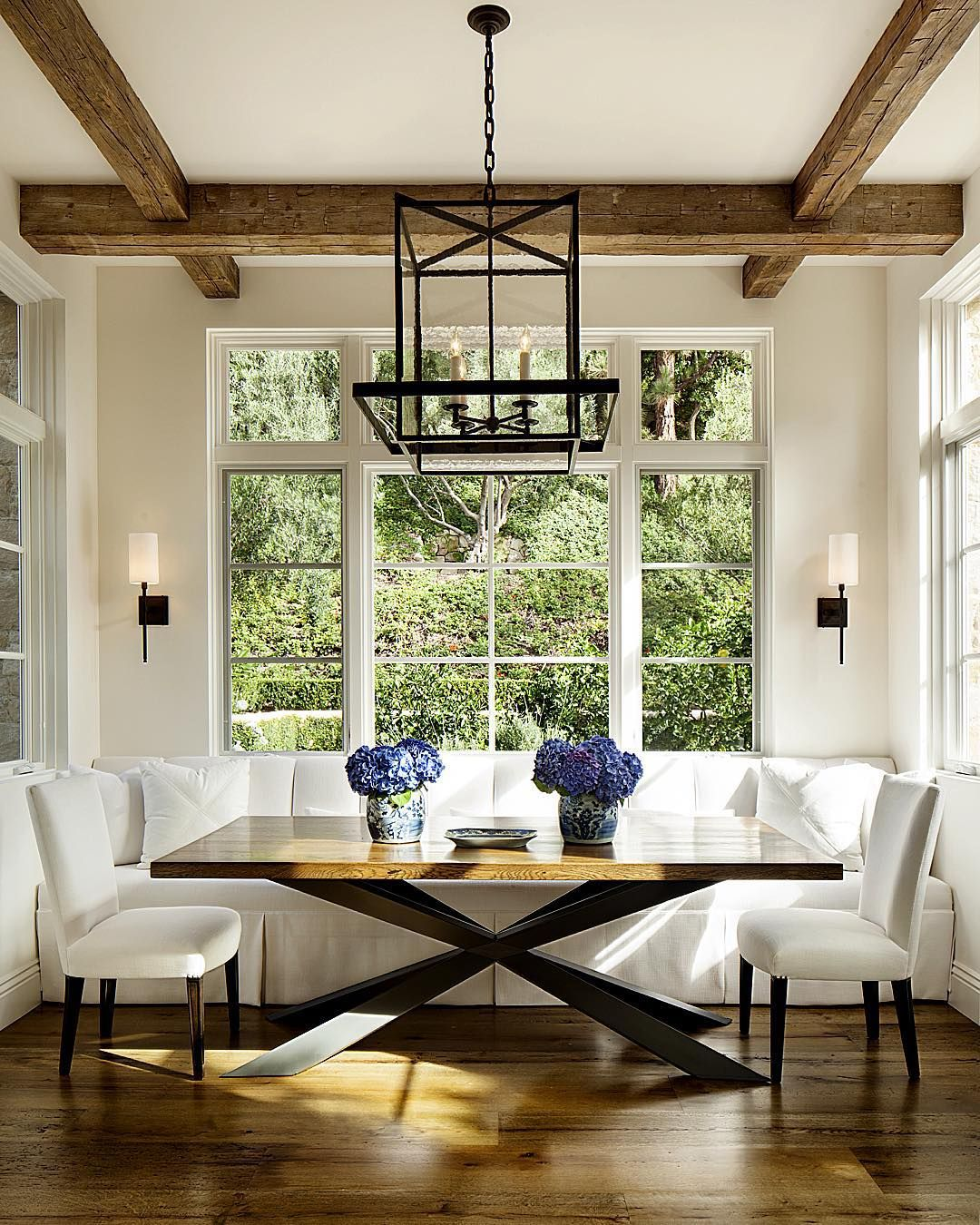 A custom table and a banquette make