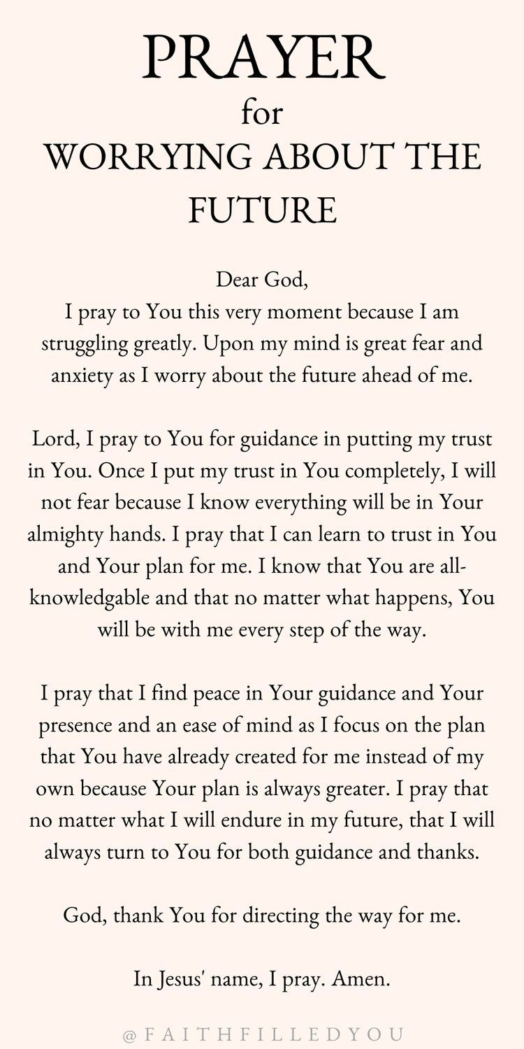 Prayer For Worrying About The Future A prayer for