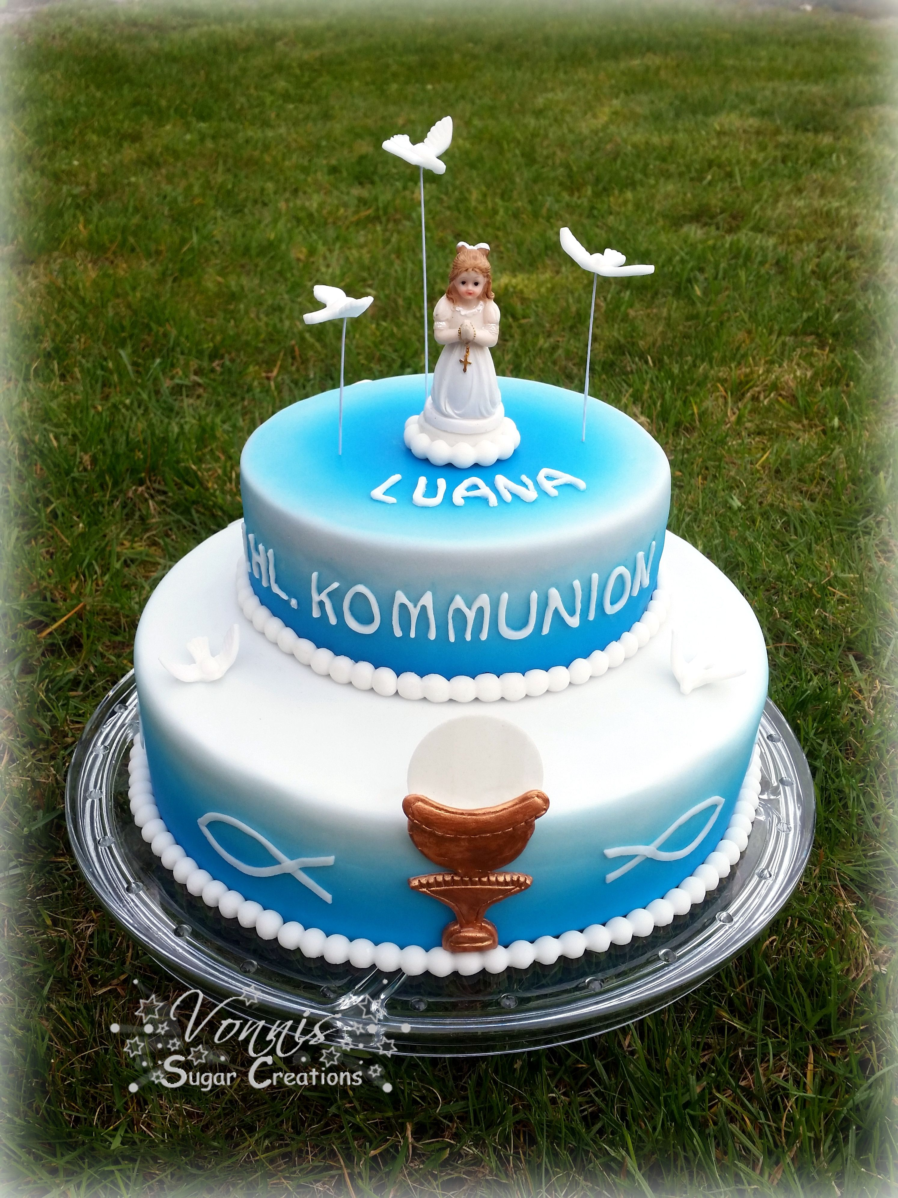 first holy communion angel cake dove fondant christ erste ...