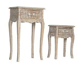 Set de 2 mesas auxiliares de madera de mango Charlotte - beige