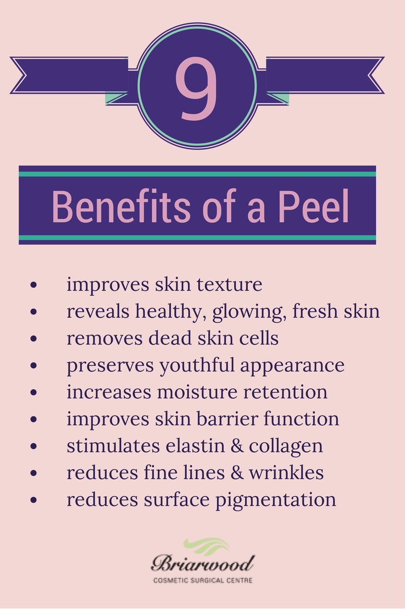 9 Benefits of a Peel. Chemical peels are available at