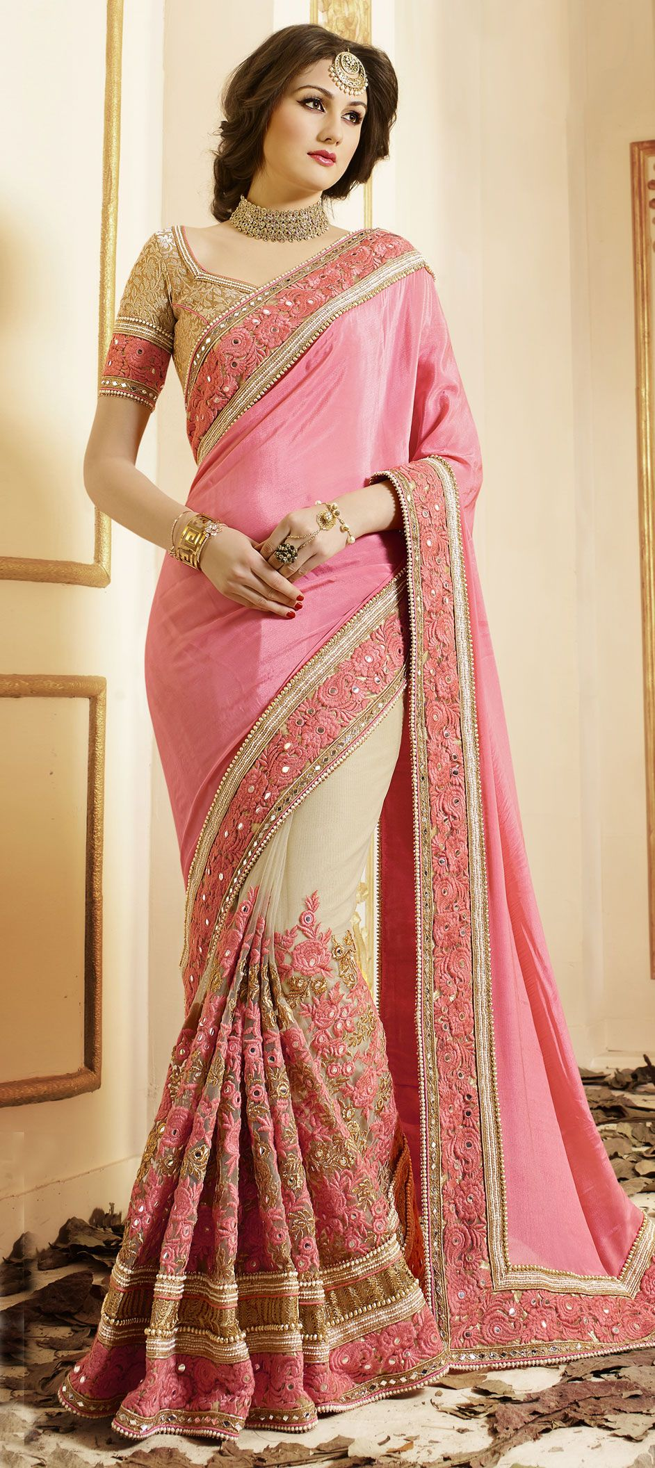 Beautiful pink and beige saree | d£$igπ£R $@R££ dR@pInG | Pinterest
