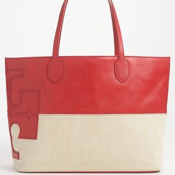 bbb2189de Tory Burch Stacked T East West Lobster/natural Tote Bag | Totes on Sale at  Tradesy