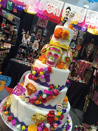 Day of the Dead themed wedding cake with lots of beautiful different ...