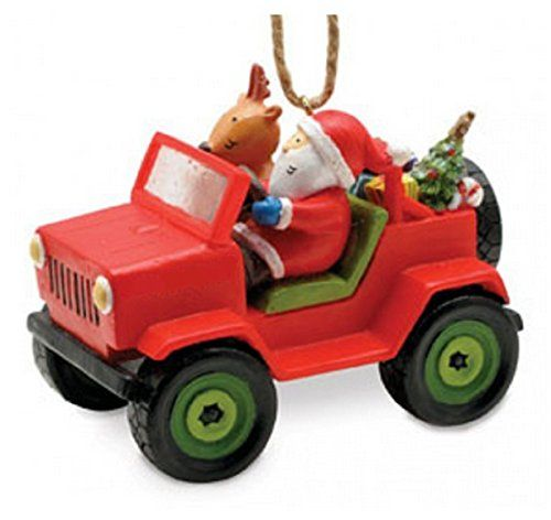 santa and reindeer jeep christmas ornament you can find out more details at the link of the image this is an affiliate link christmasornamentsdecor - Jeep Christmas Decorations