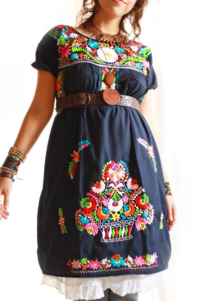 02490667dde Navy Mexican embroidered floral dress  yay to wearing a belt