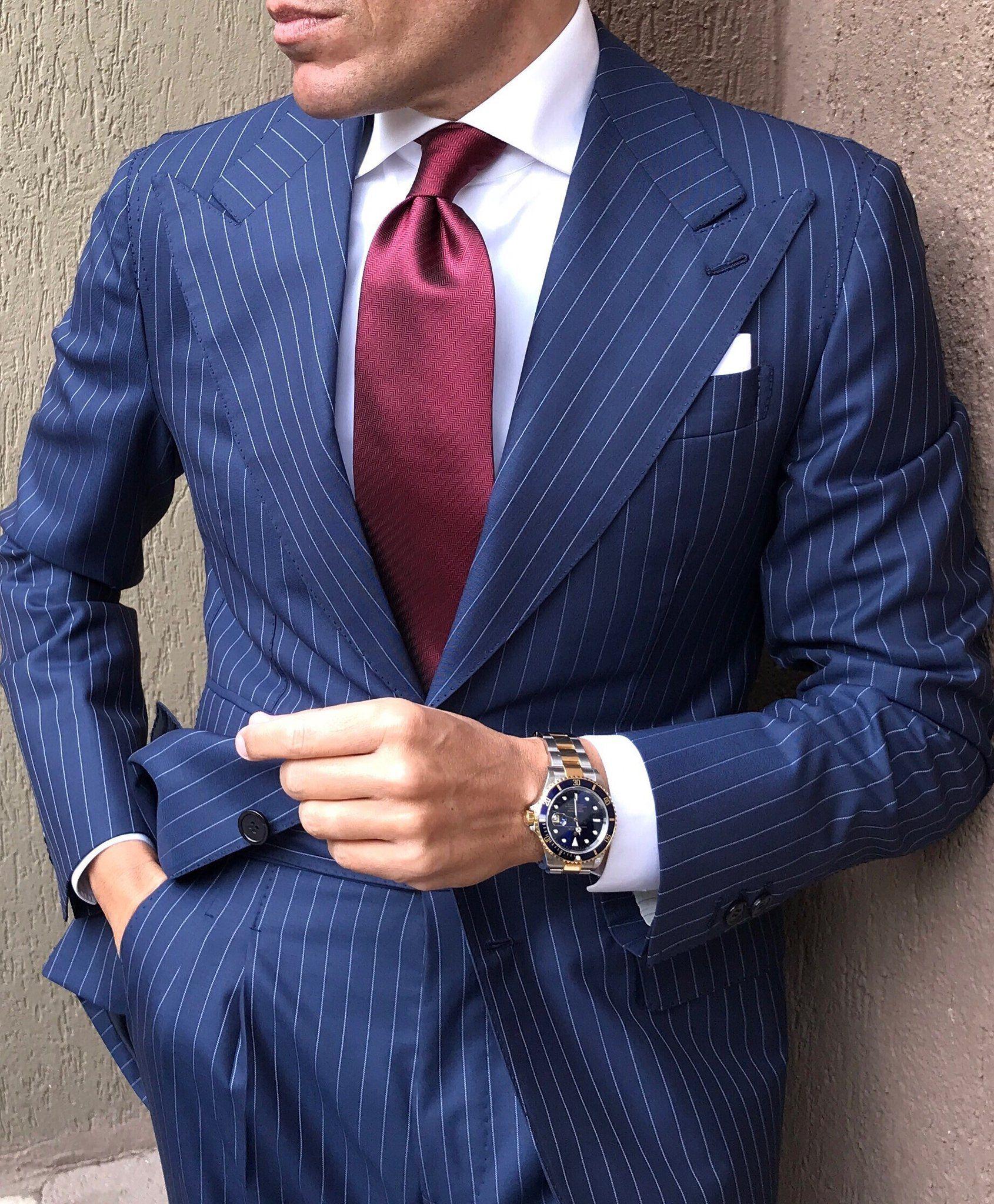 Roma Blue Pinstripe Suit | Blue pinstripe suit, Pinstripe suit, Blue  striped suit