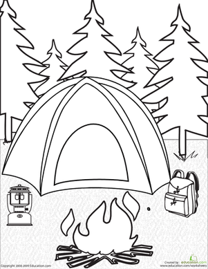 Get Ready For Camping With This Fun Coloring Page Which Features A Tent Campfire Back Camping Coloring Pages Camping Theme Preschool Camping Theme Classroom