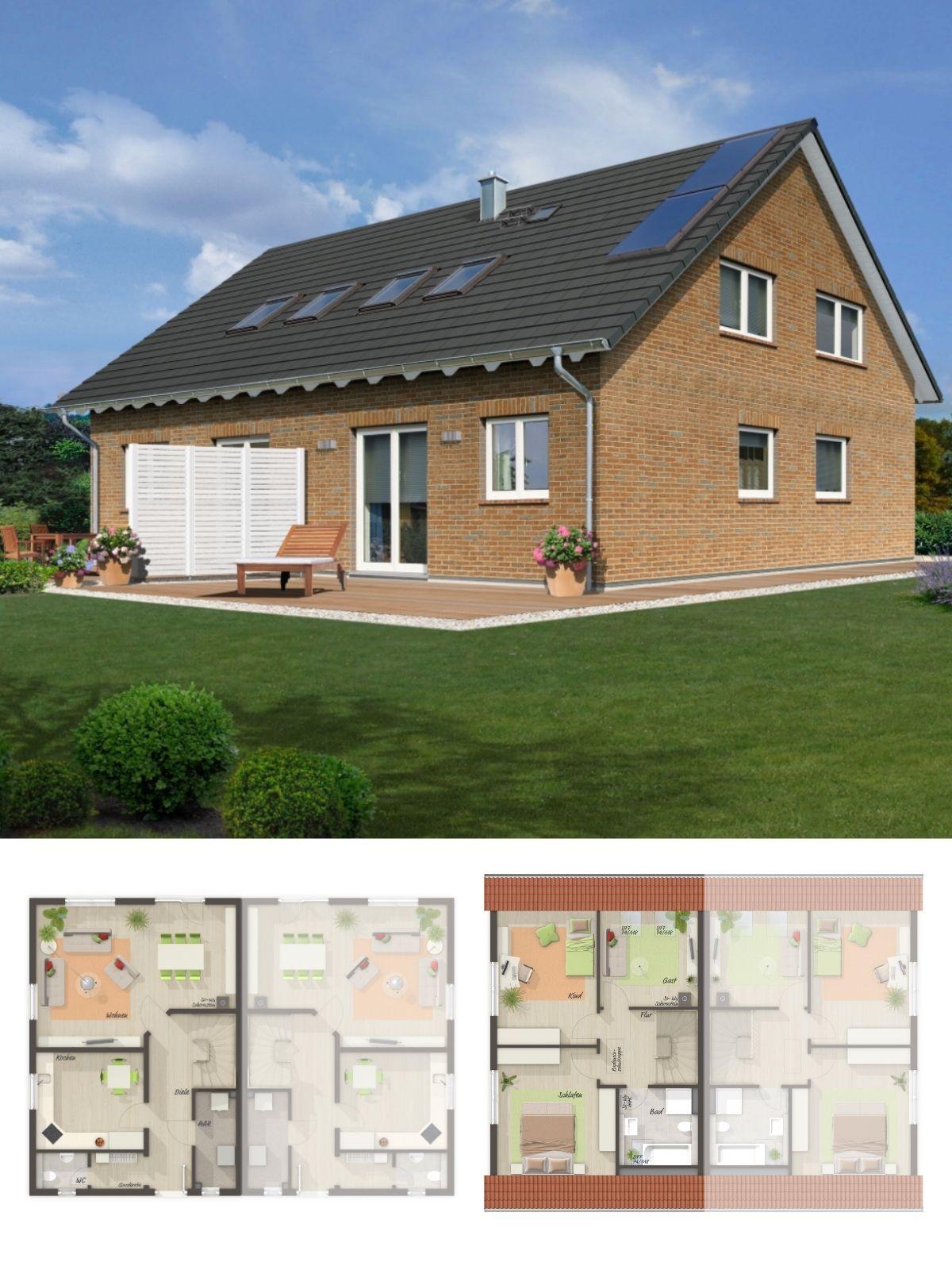 Doppelhaus Klassisch Mit Klinker Fassade Satteldach Architektur Im