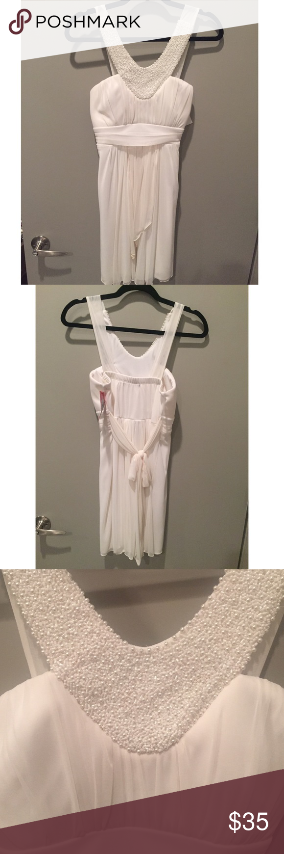 NWT off white beaded dress NWT Trixxi Girl dress. Off white color with beading at top. Tie in back and padded bust. Size 11 Trixxi Dresses