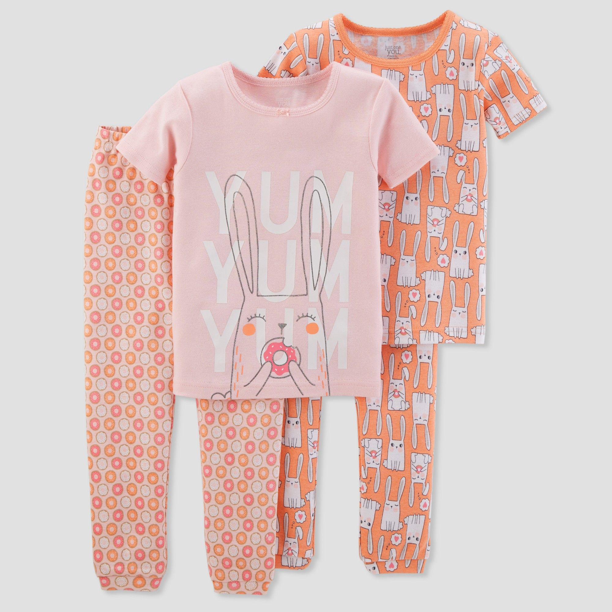 39968ce10668 Toddler Girls  4pc Cotton Bunnies Pajama Set - Just One You made by carter s  Peach 3T
