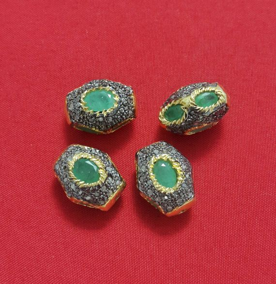 Natural Emerald & Diamond Spacer beads 925 by AvniJewelry on Etsy